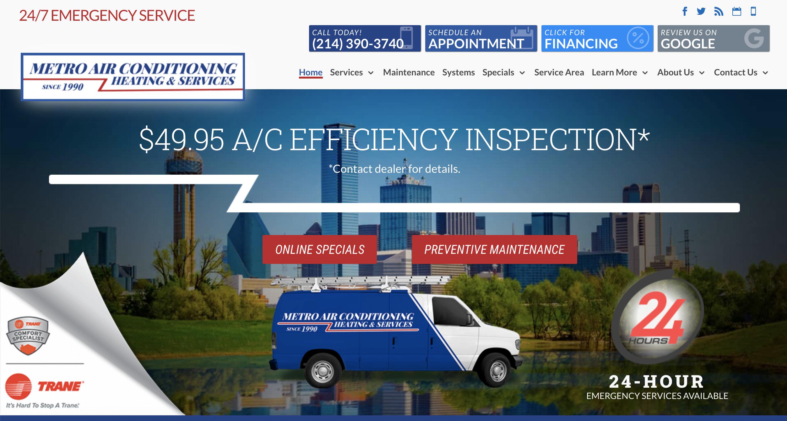 Metro Air Conditioning Website Design Inspiration