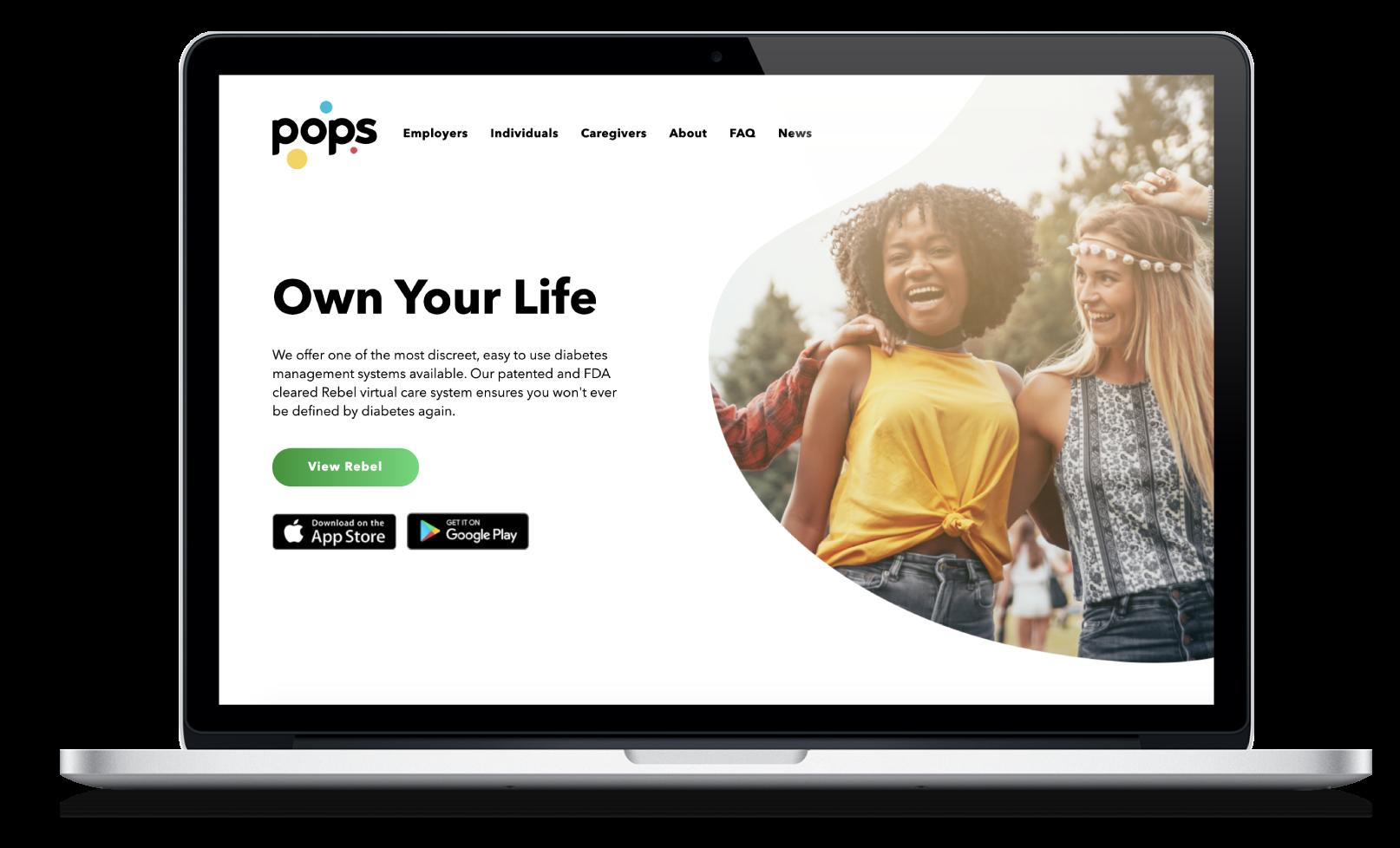 Pops Diabetes Website Design
