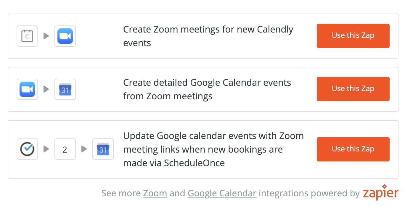 Zapier Integrations - Zoom Calendly