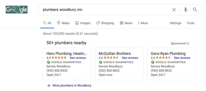 plumber seo verified ads