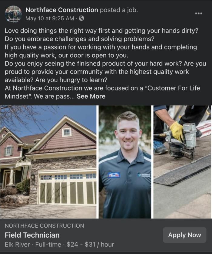 facebook ad example - Northface Construction