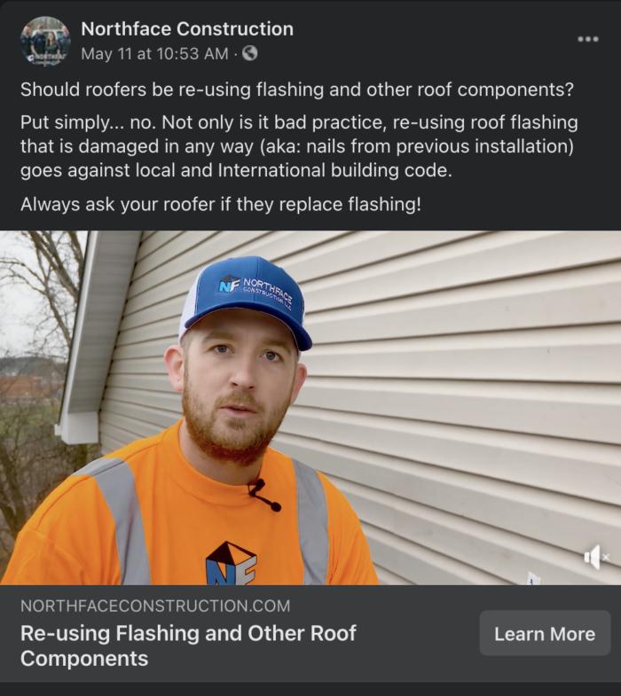 Northface Construction facebook ad