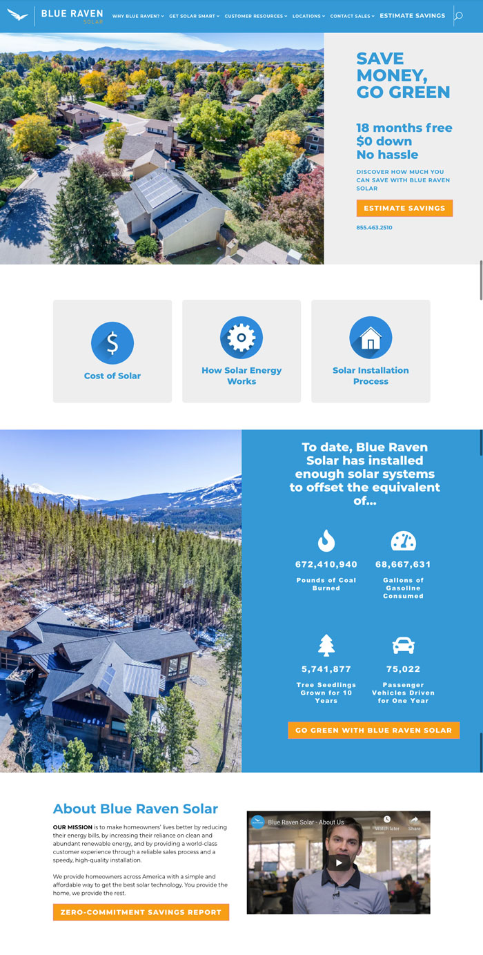 Blue Raven Solar Website Design Inspiration