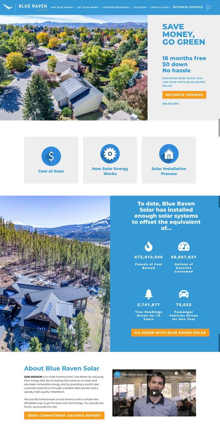 Blue Raven Solar Website Design Inspiration