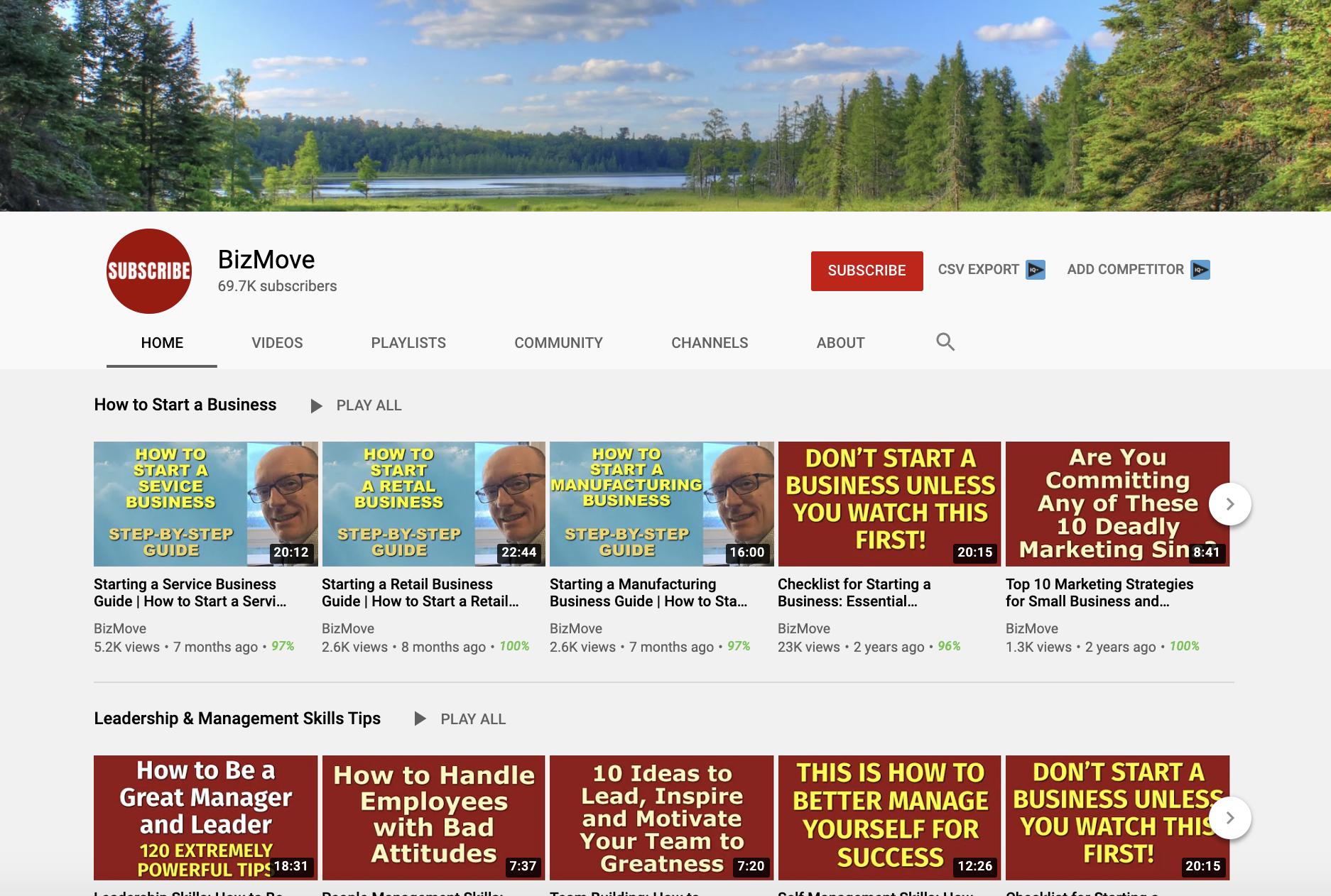 BizMove Business strategy process youtube channels