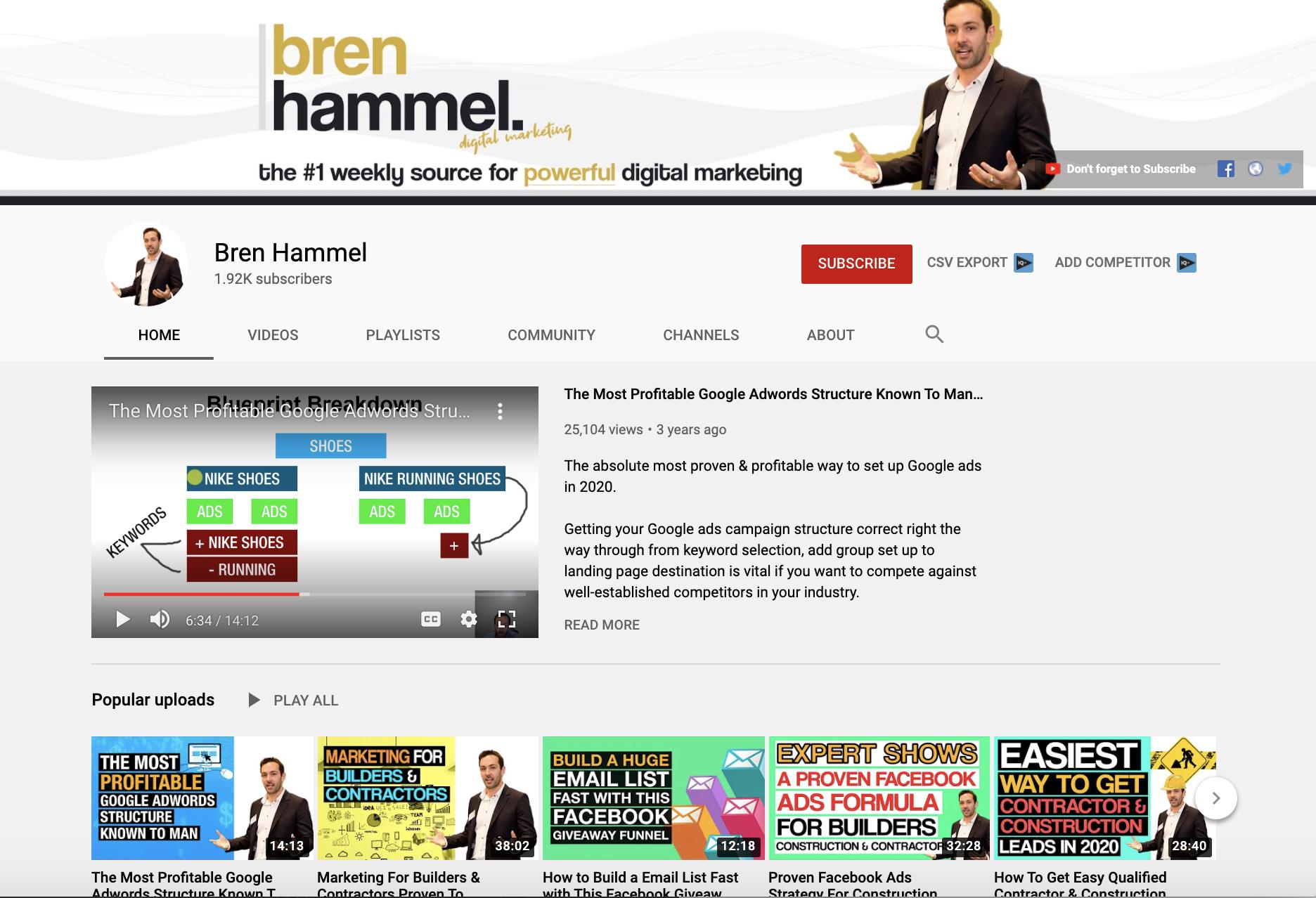 Bren Hammel Contractor Marketing Youtube Channel