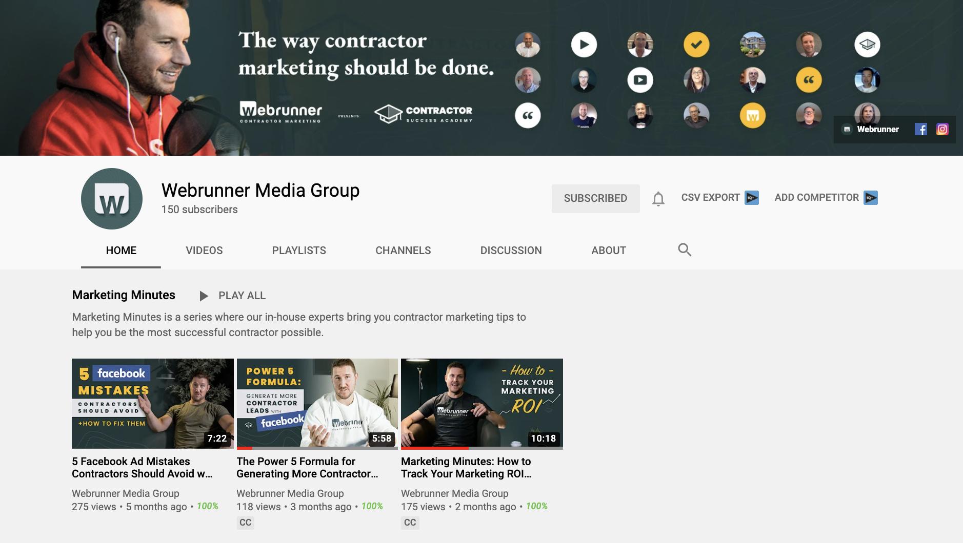 Webrunner Media Youtube Channel for construction hardscaper ppc