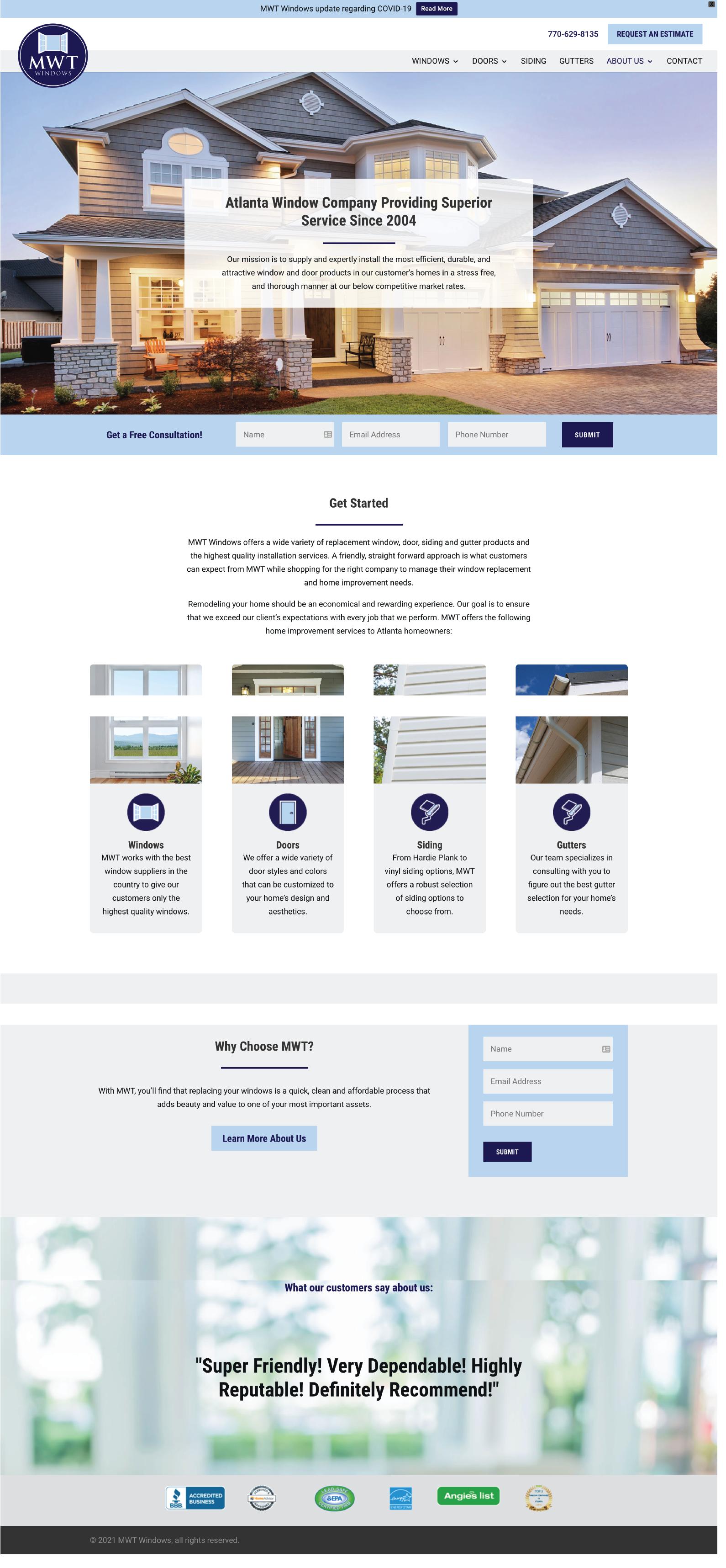 Windows and Doors Contractor Website Design Example from MWF Windows and Doors