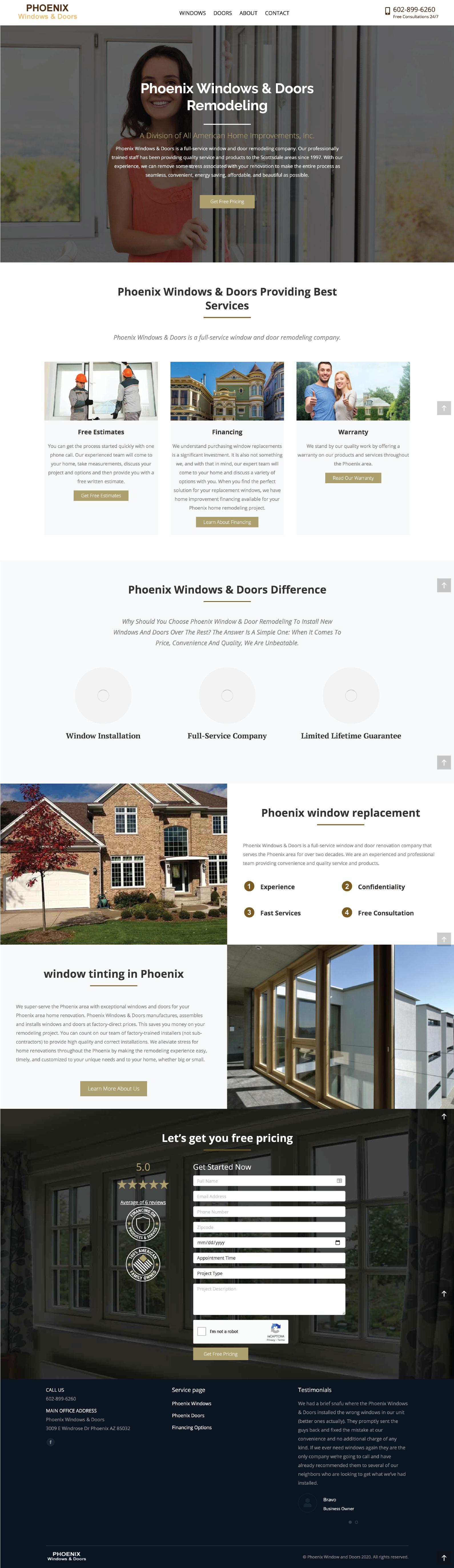 Windows and Doors Contractor Website Design Inspiration example from Phoenix Windows and Doors