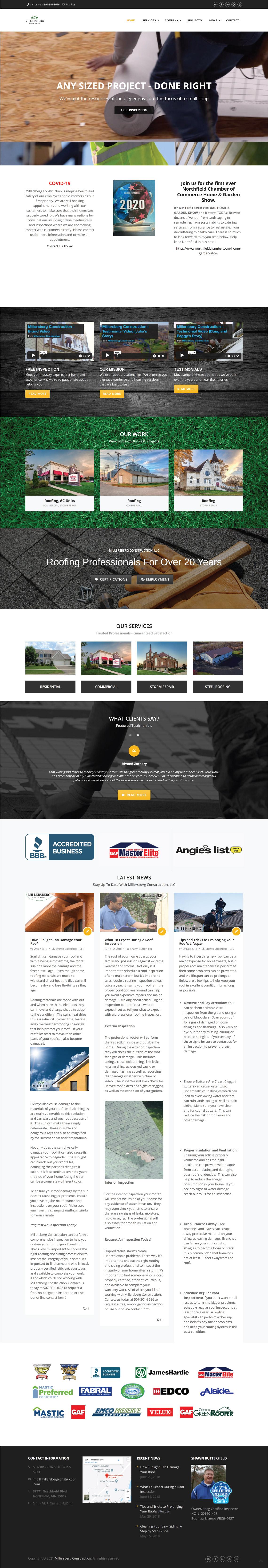 Windows and Doors Contractor Website Design Inspiration from Millersburg