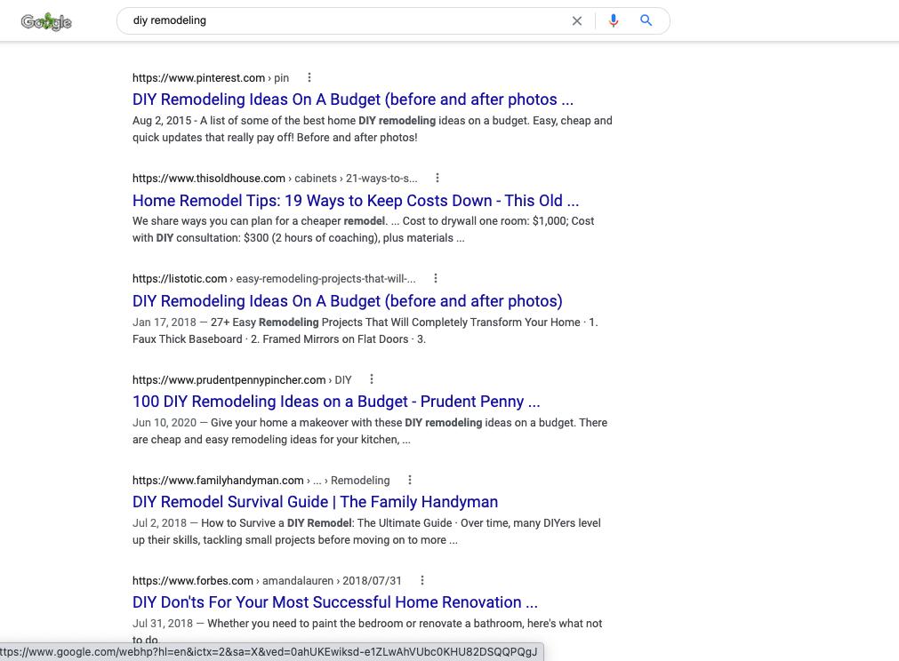 diy remodeling google