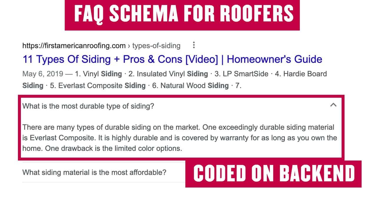 FAQ Schema for Roofers